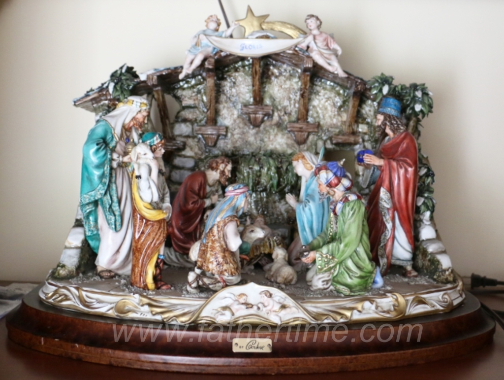Father Time Auctions, Porcelain Capodimonte Nativity Scene by Cortese mounted on a wooden base. Made in Italy., antique auctions, st. louis auctions