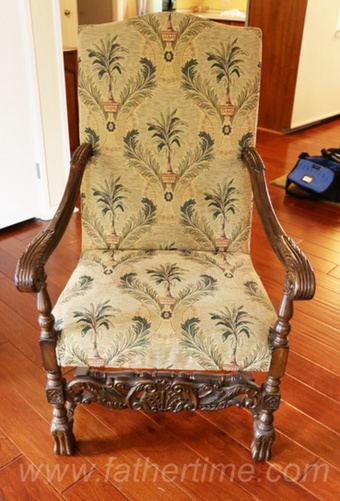 Father Time Auctions, Jacobean style Arm Chair from the 19th century design with tropical inspired brocade fabric upholstery, antique auctions, St. louis auctions, MO auctions