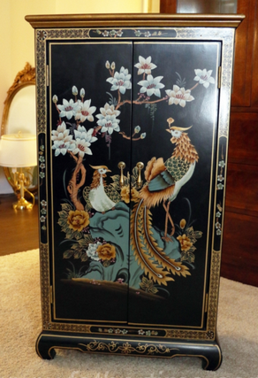 Asian styled lacquered cabinet, Birds and floral designs painted on a black background with a gold border surround, father time auctions st. louis MO, father time auctions IL