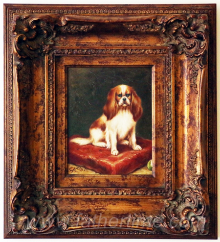 Gilt framed painting of a dog, King Charles Spaniel dog on a pillow by Catsot, father time online auctions st. louis MO, online auctions IL