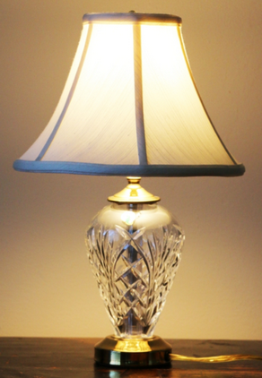 Waterford crystal lamp with white flared silk shade, brass collar and base, st. louis auctions, st. louis online auctions, father time auctions st. louis MO, IL auctions