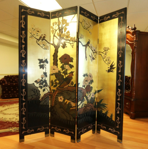 lacquerd asian folding screen, home furnishings, st. louis auctions, IL auctions, MO auctions, father time auctions, antique auctions